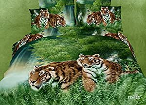 Tiger est en attente pour la chasse, relief Parure de lit pour lit King size et Queen Best en ligne, literie mémoire pour vous, elle est d'une couleur Par lot/pc