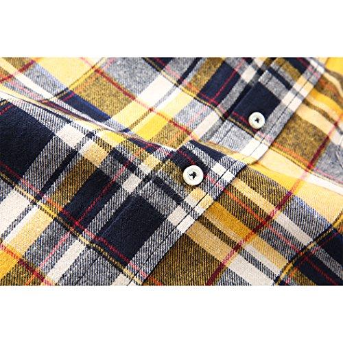 ... Mocotono Herren Langarm Kariertes Hemd Baumwolle Flanell Hemd mit Super  Qualität Gelb 33b96abfc3