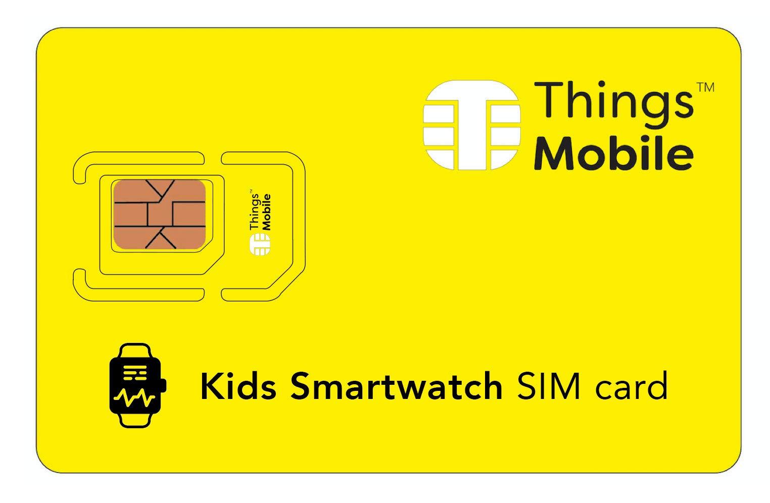 Tarjeta SIM para SMARTWATCH / RELOJ INTELIGENTE PARA NIÑOS - Things Mobile - cobertura global, red multioperador GSM/2G/3G/4G, sin costes fijos, sin vencimiento. Crédito no incluido 1