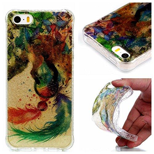 Coque iPhone SE/5/5s, Cozy Hut® [ Anti-Scratch] Ultra Mince Premium TPU silicone Case [Bling Crystal] ** Eclatant et Brillant ** Glitter Crystal Quartz / Bumper-Style / Anti-choc / Adherence exacte /  Fox Campanula