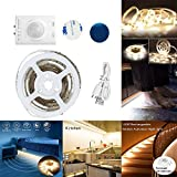LED-Bewegungs-Sensor-Licht, Bewegung aktivierte nachladbare Garderobe-Licht, flexibles 3.28ft 3000K warmes weißes Doppelmodus-LED-Streifen-Licht mit automatischer Abschaltung Timer, drahtloser PIR Bewegungs-Sensor aktiviert, Beleuchtung für Küche, Fach, Treppen