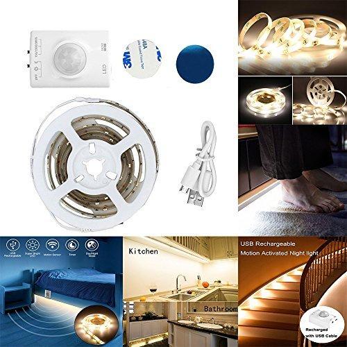 Luz de tira del sensor de movimiento del LED, luz nocturna recargable activada por movimiento, luz de la cama activada por tira del LED flexible, luz de noche del sensor de movimiento Luz de noche con temporizador de apagado automático (3.3ft / 1M blanco cálido)