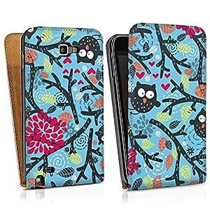 Samsung Galaxy Note Tasche Schutz Hülle Walletcase Bookstyle Eulen Muster Blätter