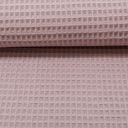 Brittschens stoff und zutaten tessuto in cotone piqué a nido d'ape, a nido d'ape, colore: rosa antico, da cucire, al metro, cucito, accappatoio da cucire