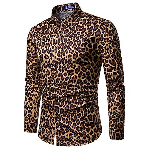 serliy Herren Casual Bluse Fashion Printed beiläufige Lange Hülsen dünne Hemd Oberseiten Tracksuit Trousers Outwear Karikatur Kapuzenmantel Kleidung langärmlig Knopfleiste schöne Langarmshirts