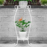 Blumenstand Schmiedeeisen Boden Balkon Wohnzimmer Multifunktions-Rack Stabil und Langlebig Anti-Rost-Bonsai-Display-Ständer (Farbe : Weiß, größe : 37 * 20 * 67cm)