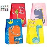 BESTZY 40 Pezzi Sacchettini Regalo di Dinosauro Sacchetti Regalo di Carta Busta Regalo Sacchetto Regalo Dinosauro con Etichette Adesive per Bambini Feste di Compleanno Sacchetti Regalo