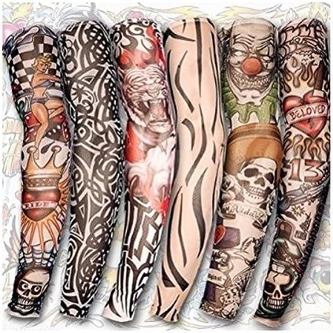 6 manga del tatuaje falso para brazo con estilo nylon ajustable traje - media vestido de lujo [version:x5.6] by