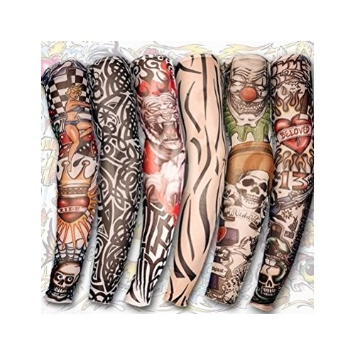 6 St. Tattoo Ärmel Strümpfe Tätowierung Anziehen Kostüme Set NEU
