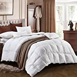 Comforter Duvet Insert White 100% Cotton Down Proof Fabric 90% White Duck Down Duvet Quilt,White Hypoallergenic, Box Stitched, Protects Against Dust Mites and Allergens (Queen)