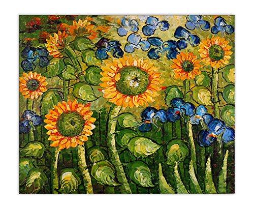 Arte dal Mondo vg038eat -01girasole e Iris fatti a mano dipinto a olio su tela con cornice