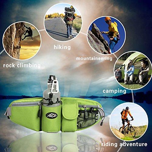 EchoFun Outdoor-taktische Taille/Fanny Bag Fashion haltbar Unisex Runner Camping Wandern Bike Taille Backpackack Wasser Flasche Halter verstellbarer Gürtel Sporttasche green