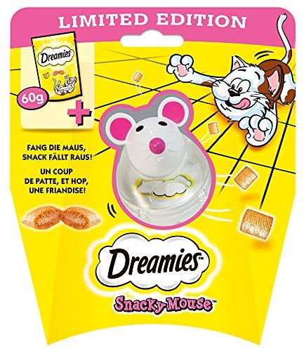 Dreamies Katzensnacks Snacky Mouse, Käse, Katzenleckerli mit Spielzeug, 3x Katzensnack (60 g) und 3x Spielzeugmaus