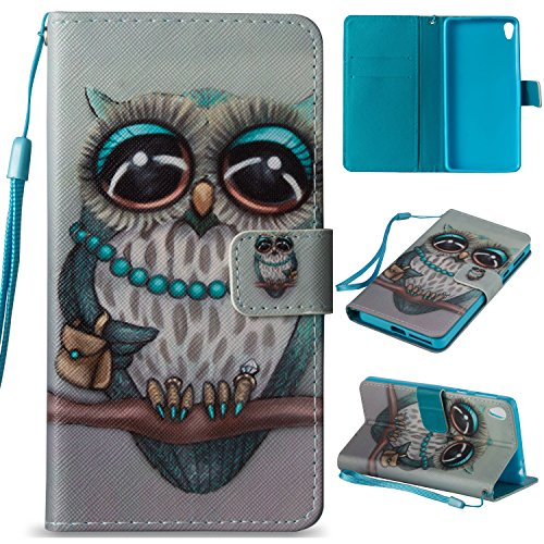For Sony Xperia E5 Leather Flip Case Cover,Ecoway Colorful Painted PU Leather Stand Function Protective Cases Covers with Card Slot Holder Wallet Book Design,Soft TPU Silicone Inner Bumper Full Protection Detachable Hand Strap for Sony Xperia E5 - owl