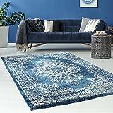 Teppich Flachflor mit Klassischen Design/ Ornamenten-Muster in Blau/ Grau, Hochwertig, Weicher Flor, Größe: 120 x 170 cm