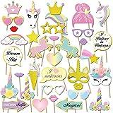 Konsait paillettes Licorne Accessoires Photobooth Anniversaire Masquerade Accessoires de Photo props pour enfants filles licorne anniversaire decoration de fete cadeau...