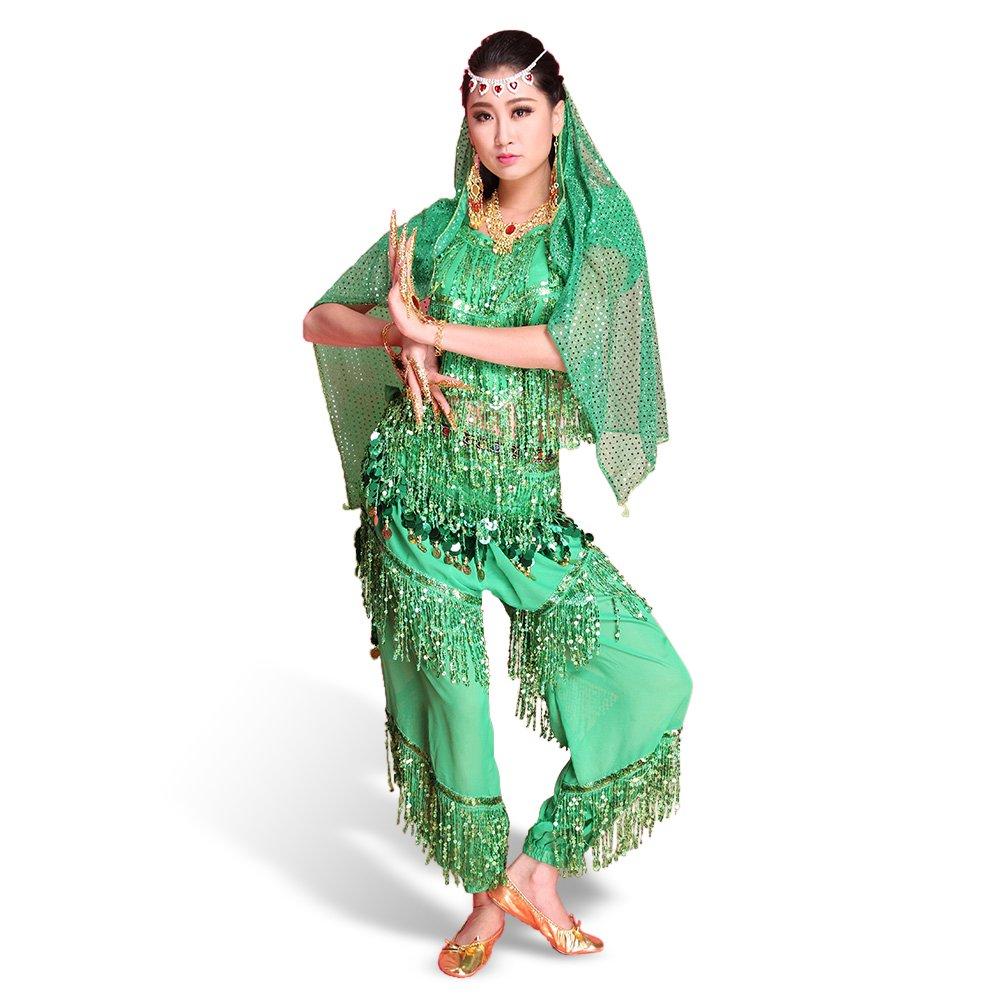Besmall Costume Danza del Ventre Paillette Verde-Top+Pantaloni+Cintura