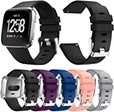 Voberry Voberry Fitbit Versa Bands for Small Large, Soft Silicone Replacet Sport Classic Band Strap for Fitbit Versa Smartwatch