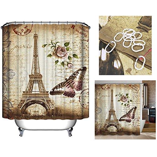 Cisixin 180 x 180 cm Cortina de Baño impermeable con Ganchos, Cortina Ducha Textil Poliéster