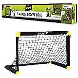 SportX Kinder Fußballtor Tor, Black/Yellow, M/90 x 59 x 61 cm