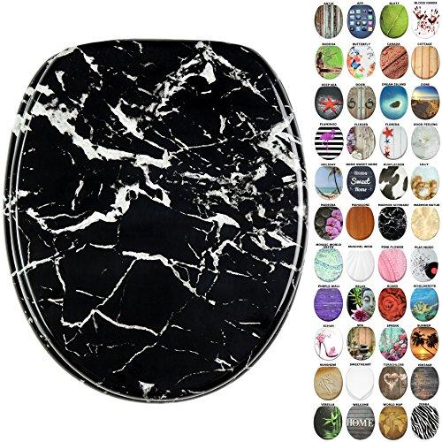 Schwarz-marmor (WC Sitz, viele neue WC Sitze zur Auswahl, hochwertige Oberfläche, stabile Scharniere, leichte Montage (Marmor Schwarz))