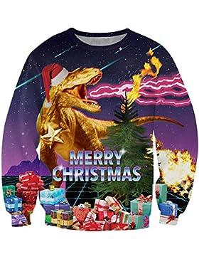 Leapparel Unisex 3D Gedruckt Langarm Coole Pullover Weihnachten T-shirt