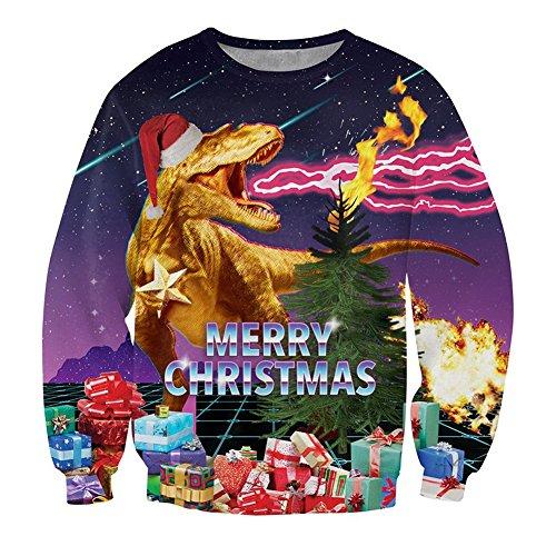Leapparel coole pullover Christmas Dinosaurier Pullover Männer und Herren Witzig 3D Muster Weihnachten Langarm Kostüm Grau (Kostüme Coole Dinosaurier)