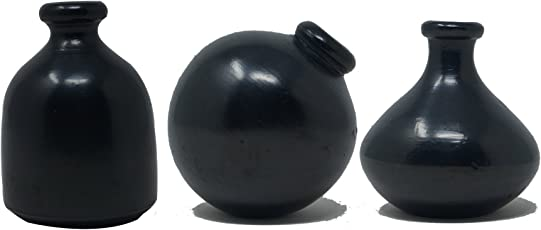 Handmade.Global Authentic Black Pottery Miniature Flower Vase (3 X 3 X 3 inches) Set of 3