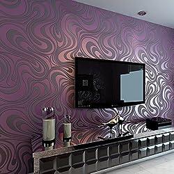HANMERO® Murales pared Papel pintado rayas no tejido papel de pared dormitorios/salón/hotel/color morado, 0.7M*8.4M