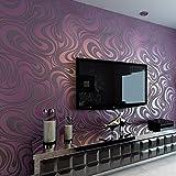 HANMERO Europa reg;Modern Abstrakt Mustertapete Curve Vergolden Wandbild Beflockung Streifen violette Tapete 8,4m*0,7m für Fernseherhintergrund, Wohnzimmer, Schlafzimmer