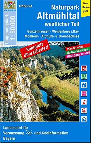 UK50-23 Naturpark Altmühltal westlicher Teil: Gunzenhausen, Weißenburg i.Bay., Solnhofen, Altmühlsee, Brombachsee, Monheim, Treuchtlingen, Donauwörth, ... Karte Freizeitkarte Wanderkarte)
