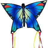 CIM Cerf-Volant Papillon - Butterfly Blue – Cerf-Volant monofil pour Enfants à partir de 3 Ans - 58x40cm – avec Ligne de 20m