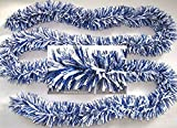 Festgirlande Blau Weiß zweifarbig 3m D10cm Mix-Fransengirlande wetterfest Deko
