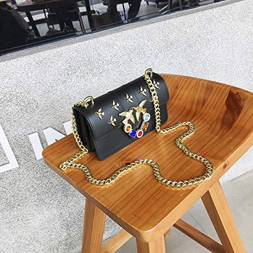 Bedolio Jelly Pack Summer Damen Crossbody Fashion Chain Kleine quadratische Tasche Wild Swallow Bag Schultertasche, Schwarz - Button Zip Wallet