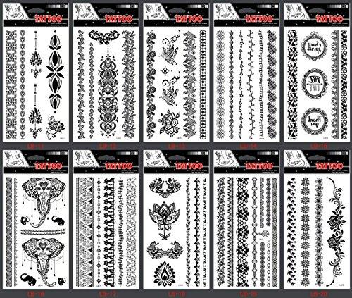 Grashine longue durée et des tatouages de tatouage tempérament réaliste 10pcs Black Indian Tribal style Jewelry faux tatouages dans un forfait