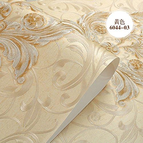 3D stereo carving continental di tessuto non tessuto carta da parati camera da letto soggiorno TV parete carta , sfondo 6044-03 giallo - Anatra Carving