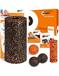 blackroll-orange ORANGE-BOX STANDARD - Faszienrolle, Massageball, Duoball Twinball-Orange und MINI Massagerolle als Selbstmassage Set in der ORANGE-BOX. Qualität Made in Germany.
