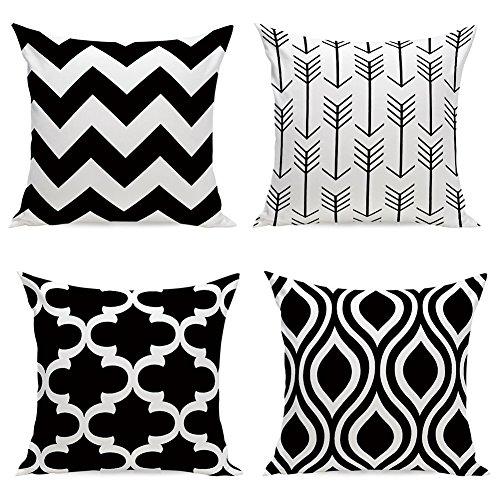 Aipark 4 pcs 45,7 x 45,7 cm Géométrique Taies d'Oreillers Décoratives Housses de coussin pour Canapés Lits Chaises Chambres