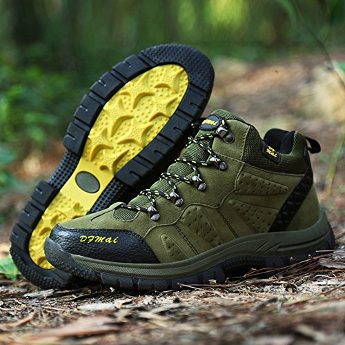 Gomnear Wandern Schuhe Herren Ankle Boot Rutschfeste Outdoor Wildleder Klettern Schuh,Gruen-44