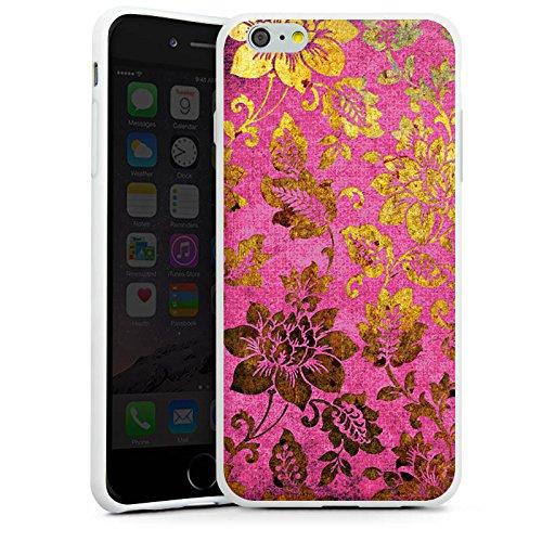 Apple iPhone X Silikon Hülle Case Schutzhülle Retro Bunt Blumen Silikon Case weiß