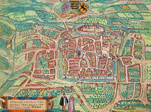 Kunstdruck/Poster: Joris Hoefnagel Map of Weimar from Civitates Orbis Terrarum by Georg Braun 1541-1622 and Frans Hogenberg 1535-90 c 1572-1617
