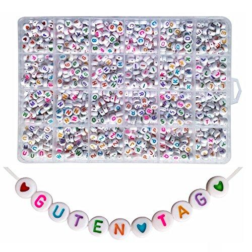 Lnvision 1200 Stück Bunte Brief Weiss Rund Acryl Alphabet Buchstaben Spacer Perlen 7x4mm Spacer Zwischenperlen Schmuck DIY Basteln A bis Z und Love Herz (Weiss Bunte)