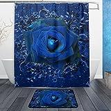 jstel Valentine 's Day blau Rose 3-teiliges Badezimmer Set, maschinenwaschbar für den täglichen Gebrauch, inkl. 152,4x 182,9cm Wasserdicht Duschvorhang, 12Dusche Haken und 1rutschfeste Badezimmer Teppich Carpet–Set