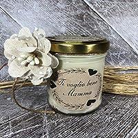 Ti voglio bene Mamma Idea Regalo Vasetto con candela personalizzabile cera di soia oli essenziali stoppino in legno Festa Mamma Regalo di Natale