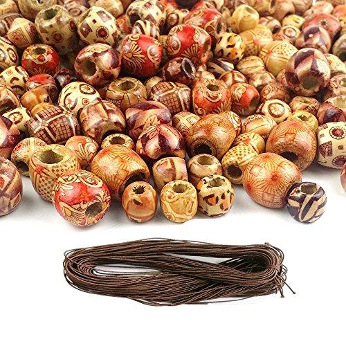 perlen Gemischte Farben 12mm natürliche Gemalt Holzperlen Runde Lose holzperle groß Lots Ball für Schmuck Handwerk mit Einem Bündel Elastischen Schnur ()