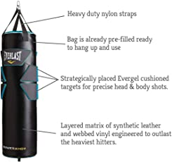 Everlast Heavy Filled Punching Bag Powershot Gel (Black, Blue, 105cm)