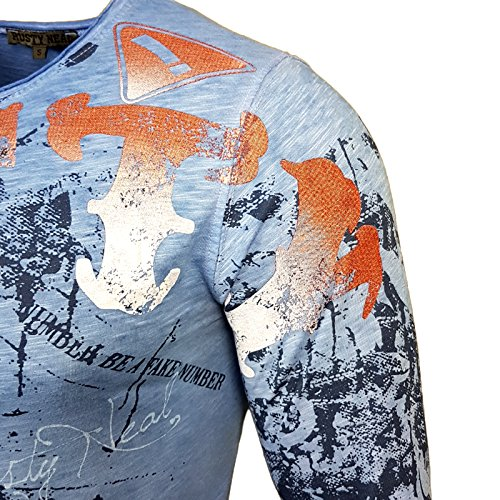 Rusty Neal Herren Langarm Figurbetont Longsleeve Hemd T-Shirt Slim 10130 Neu Sax