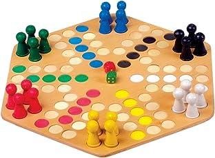 Ludo für 6 Spieler mit großem Brett aus Holz, optimal für kleine Kinderhände, Gesellschaftsspiel für die ganze Familie, ab 4 Jahre