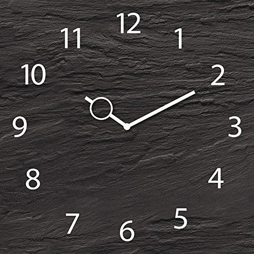 Wanduhr aus Glas, Black Slate, Schieferoptik schwarz, 30x30 cm von Eurographics