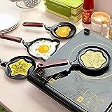 KBF Mini Cute Flower Stainless Steel Shape Non-Stick Breakfast OmelettePan Egg Frying Pan Without Lid(Black,omlette Pan)